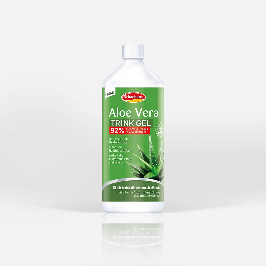 aloe-vera-trink-gel-schaebens-vitamin-c-biotin-niacin-vegan-hautelastizitaet-hautfeuchtigkeit-teaser-gruen-verpackung