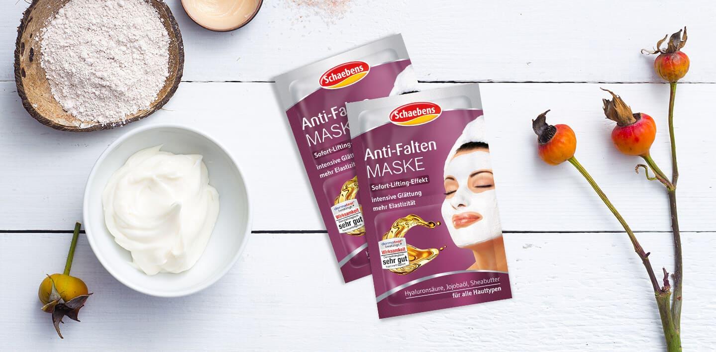 anti-falten-maske-gesichtspflege-pflege-gesichtsmaske-schaebens-jojobaoel-sheabutter-hyaluronsaeure-sofort-lifting-elastizität-feuchtigkeit-glaettung-intensiv-verpackung-lila-header