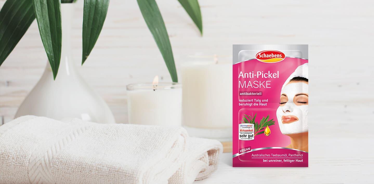 anti-pickel-maske-gesichtspflege-pflege-gesichtsmaske-schaebens-teebaumoel-pflanzliches-wirkkomplex-panthenol-vegan-antibakteriell-hautklaerend-beruhigt-mattiert-verpackung-pink-header