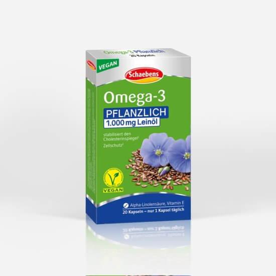 omega-3-pflanzlich-nahrungsergaenzungsmittel-schaebens-alpha-linolensaeure-vitamin-e-fettsaeure-leinoel-cholesterinbewusst-vegan-teaser-gruen-blau-verpackung