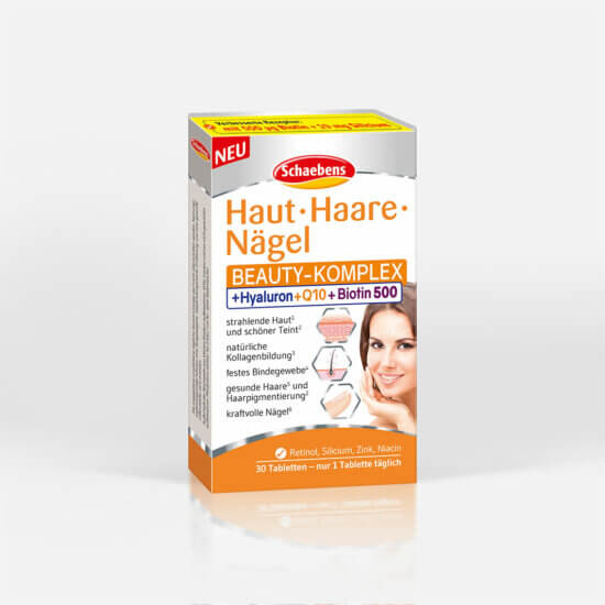 haut-haare-naegel-beauty-kur-nahrungsergaenzungsmittel-schaebens-vitamine-zink-kupfer-coenzym-Q10-hyaluronsaeure-natuerliche-schoenheit-hochwertige-aufbaustoffe-teaser-verpackung-orange