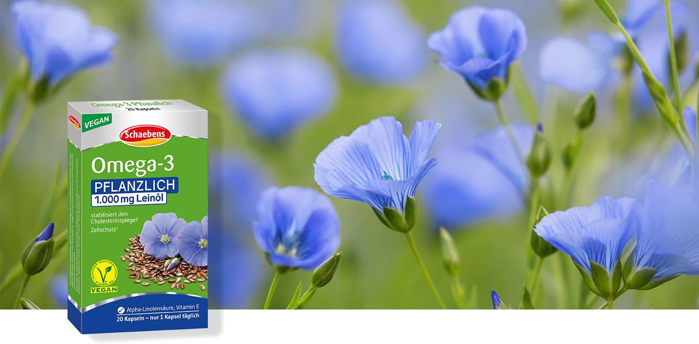 omega-3-pflanzlich-nahrungsergaenzungsmittel-schaebens-alpha-linolensaeure-vitamin-e-fettsaeure-leinoel-cholesterinbewusst-vegan-header-wiese-gruen-blau