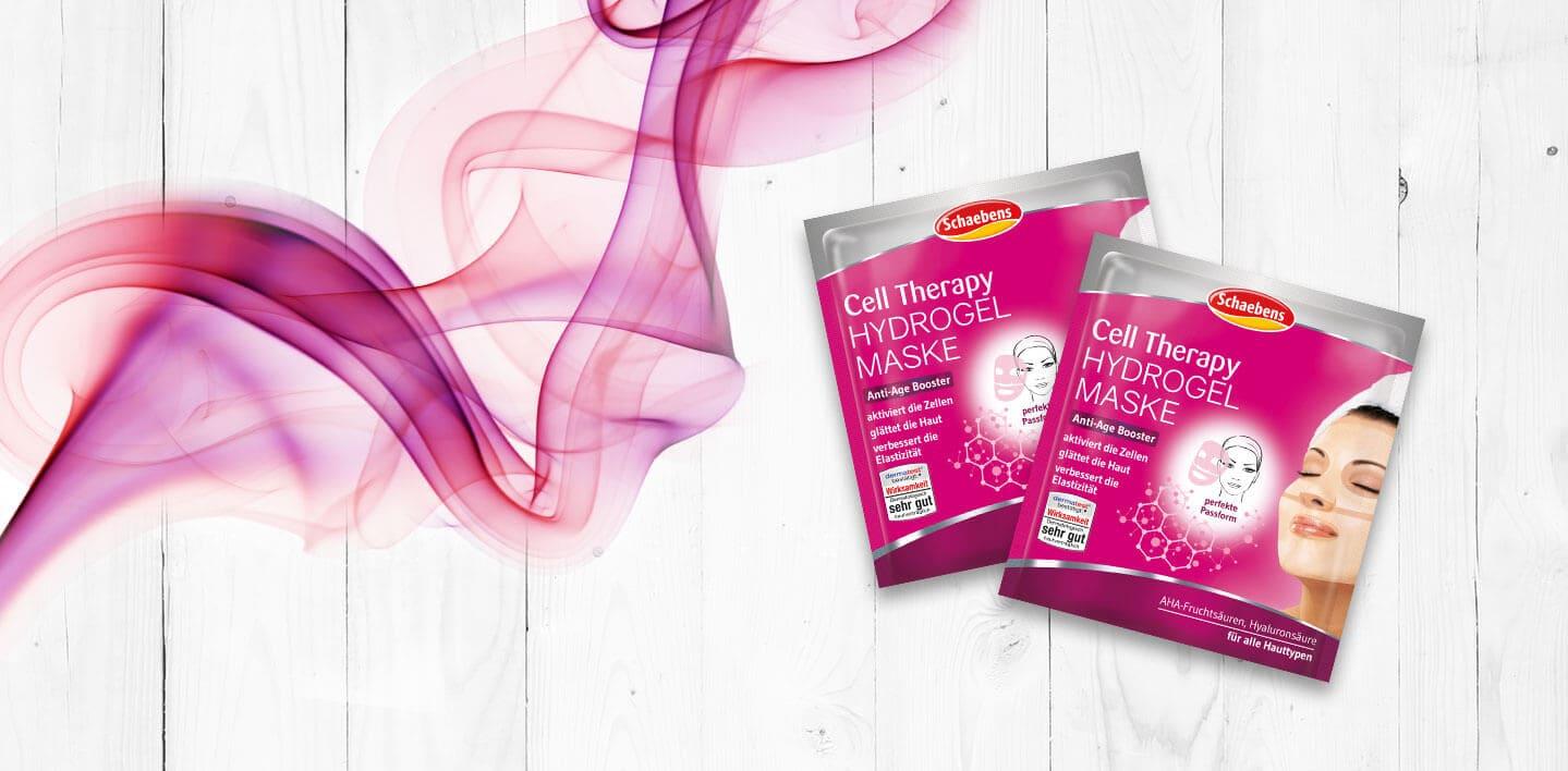 cell-therapy-hydrogel-maske-aha-fruchtsäure-hyaluronsäure-gesichtspflege-gesichtsmaske-schaebens-beauty-anti-age-booster-aktiviert-glättet-verbessert-Elastizität-header-pink-verpackung
