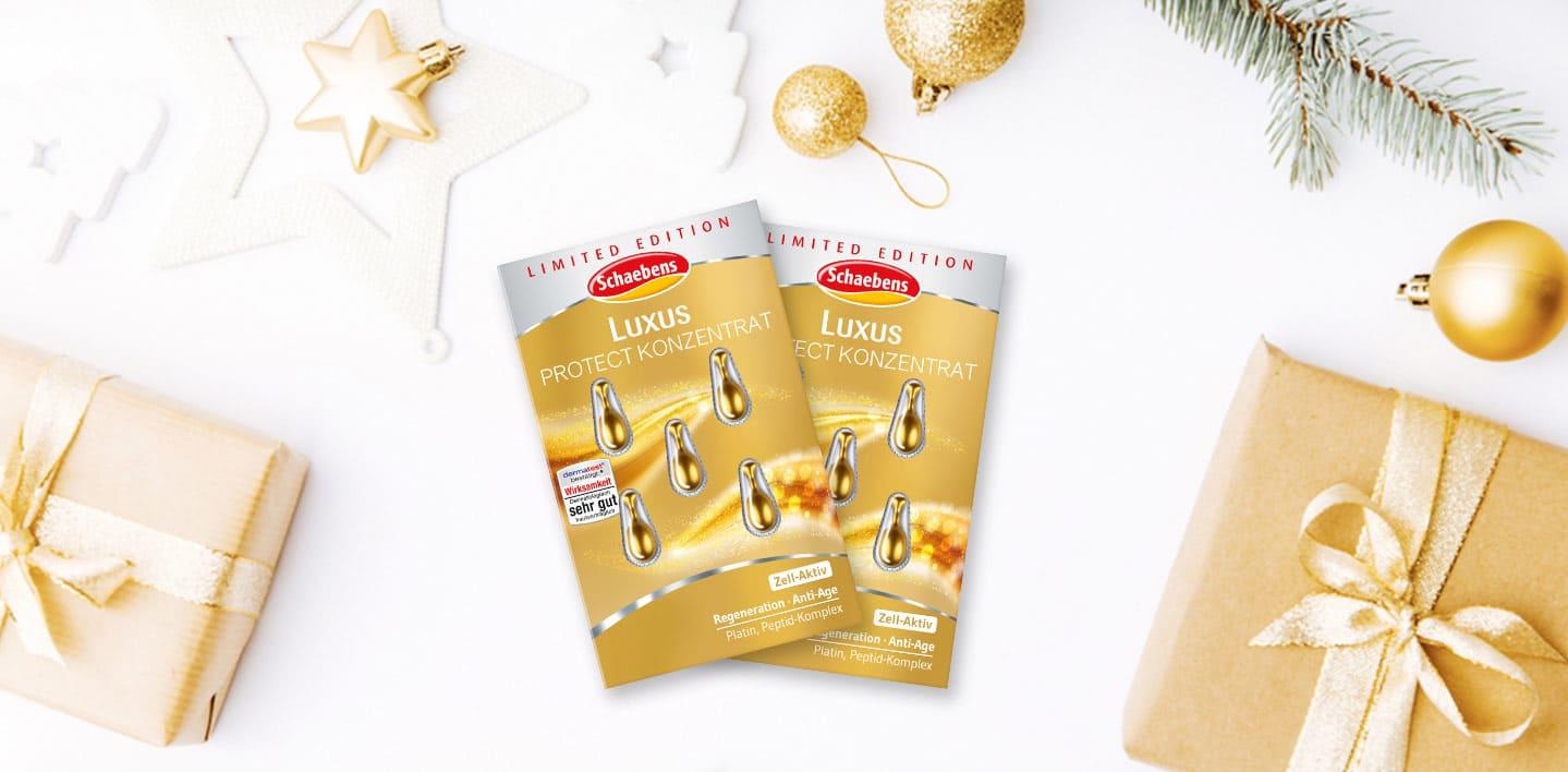 luxus-protect-konzentrat-gesichtspflege-schaebens-weihnachten-deko-glow-gold-platin-glitzer-sparkle